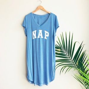 GAP Body Sleep Striped Shirt Dress Skipper Blue L